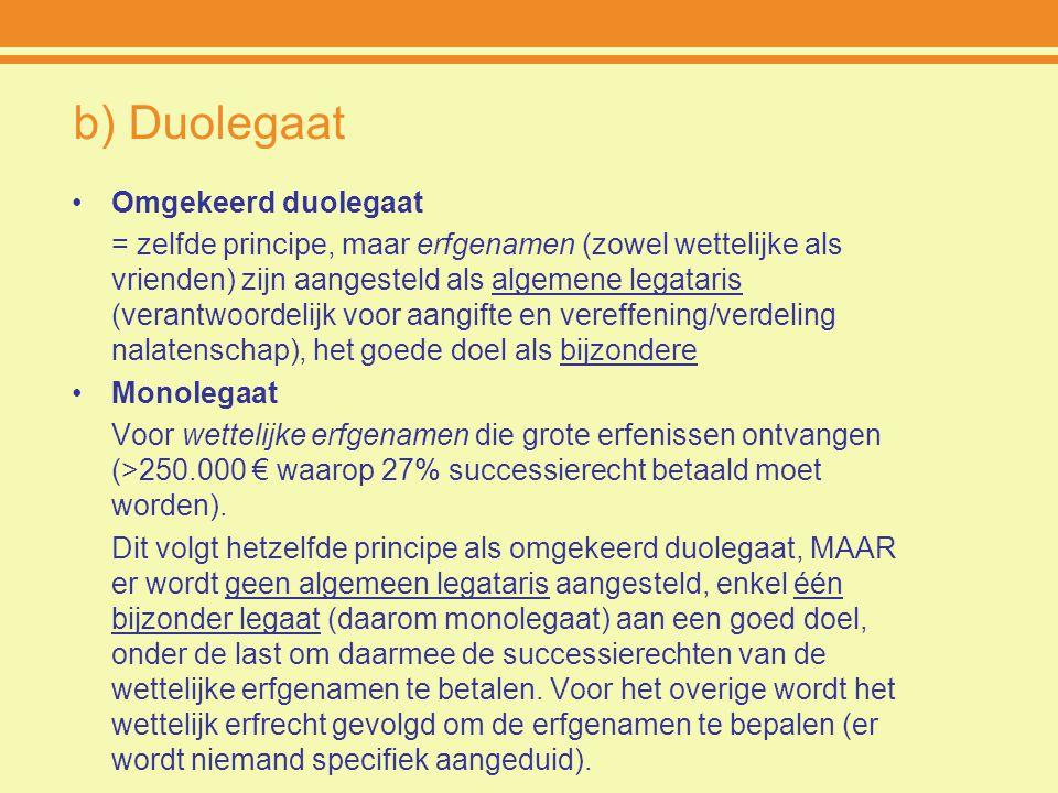b) Duolegaat Omgekeerd duolegaat