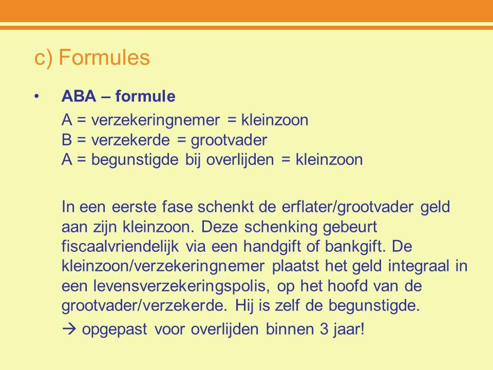 c) Formules ABA – formule