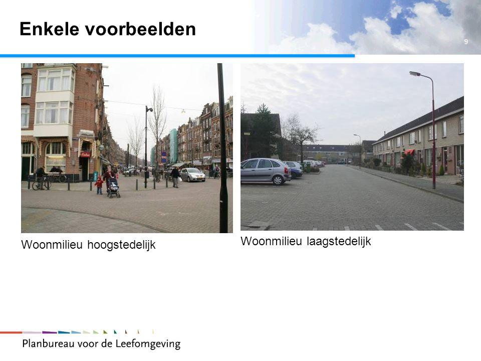 Enkele voorbeelden Woonmilieu laagstedelijk Woonmilieu hoogstedelijk
