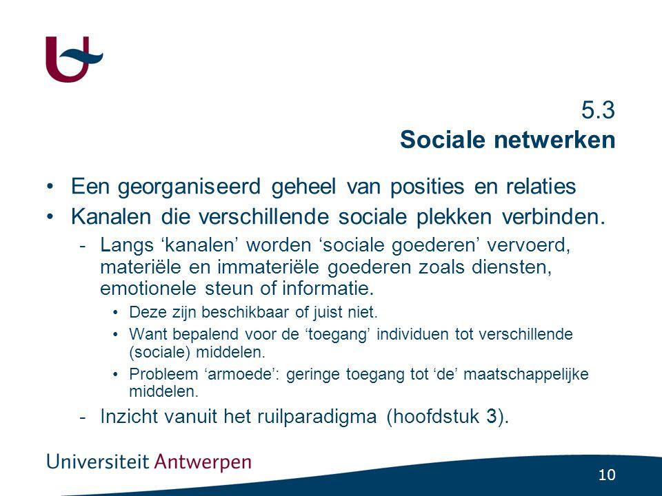 5.3.1 Netwerken zijn kanalen waarlangs sociale goederen stromen