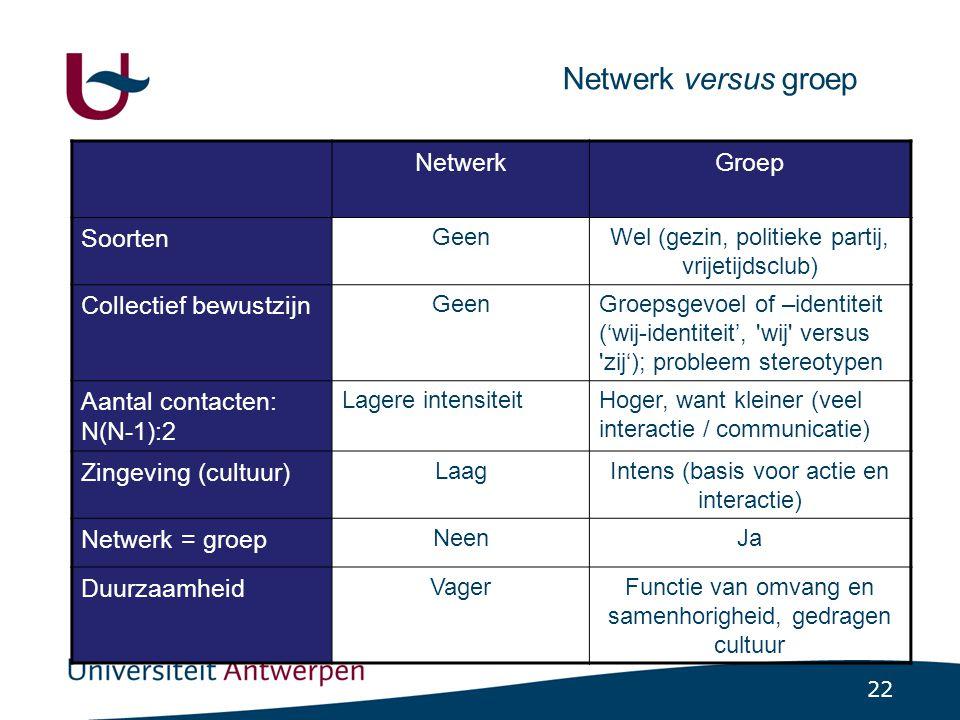 Smalle groep Formele organisaties Netwerken Activiteiten