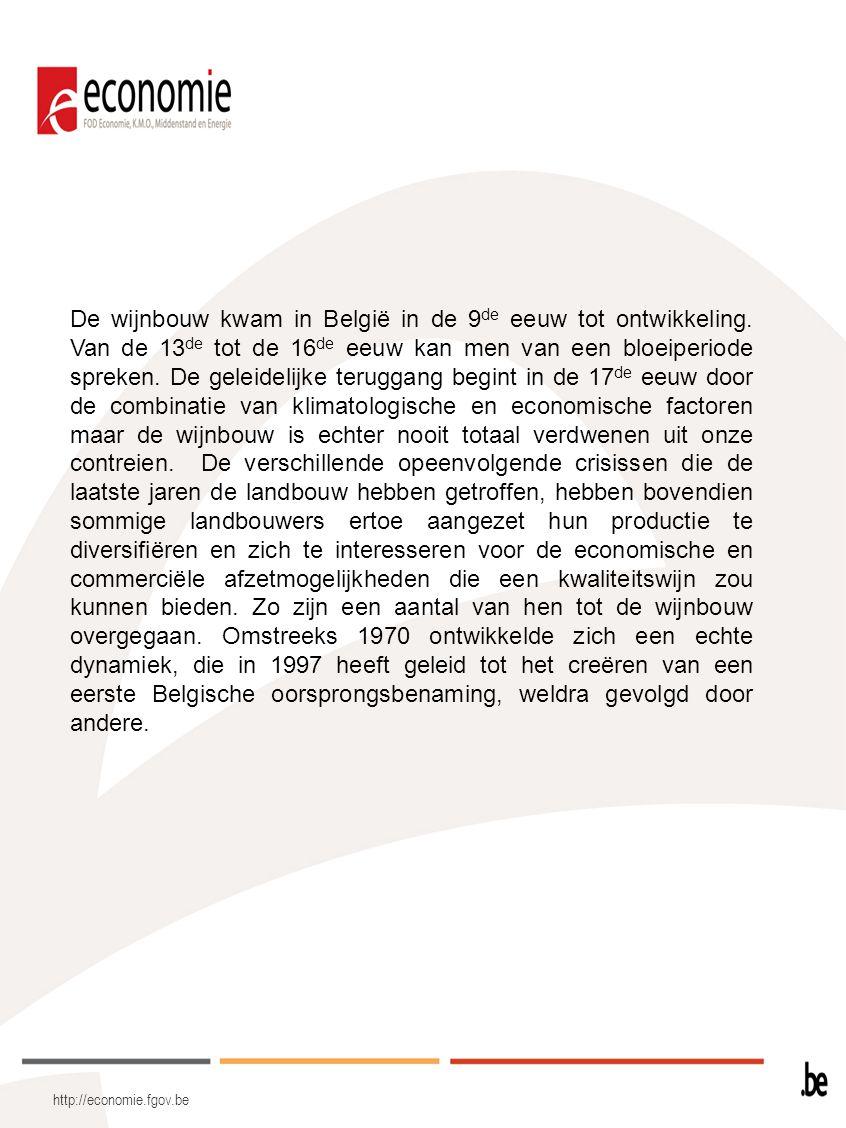 De wijnbouw kwam in België in de 9de eeuw tot ontwikkeling