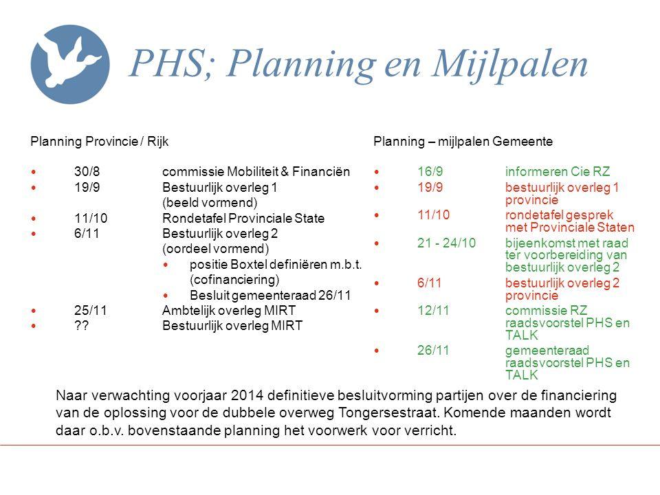 PHS; Planning en Mijlpalen
