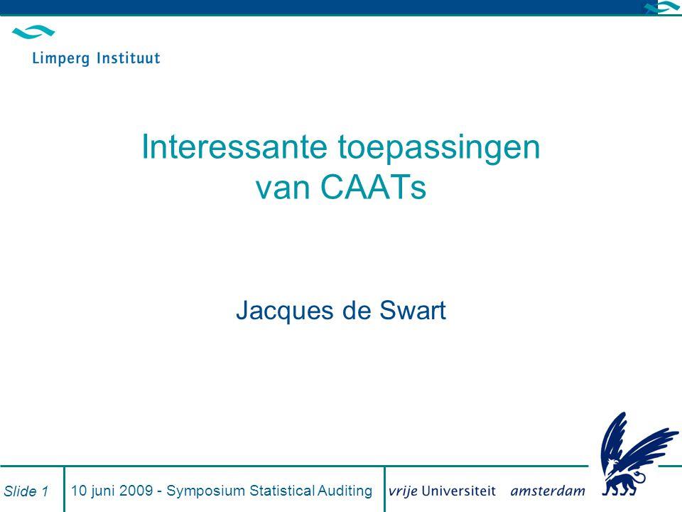 Interessante toepassingen van CAATs