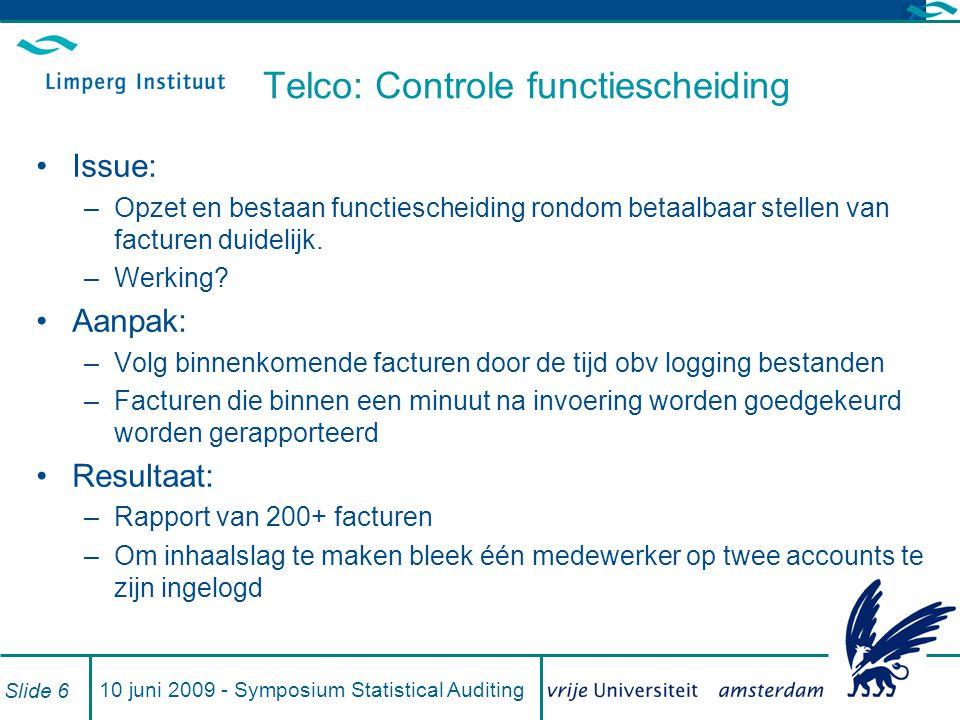 Telco: Controle functiescheiding