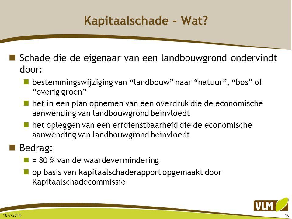 Kapitaalschade – Wat Schade die de eigenaar van een landbouwgrond ondervindt door: