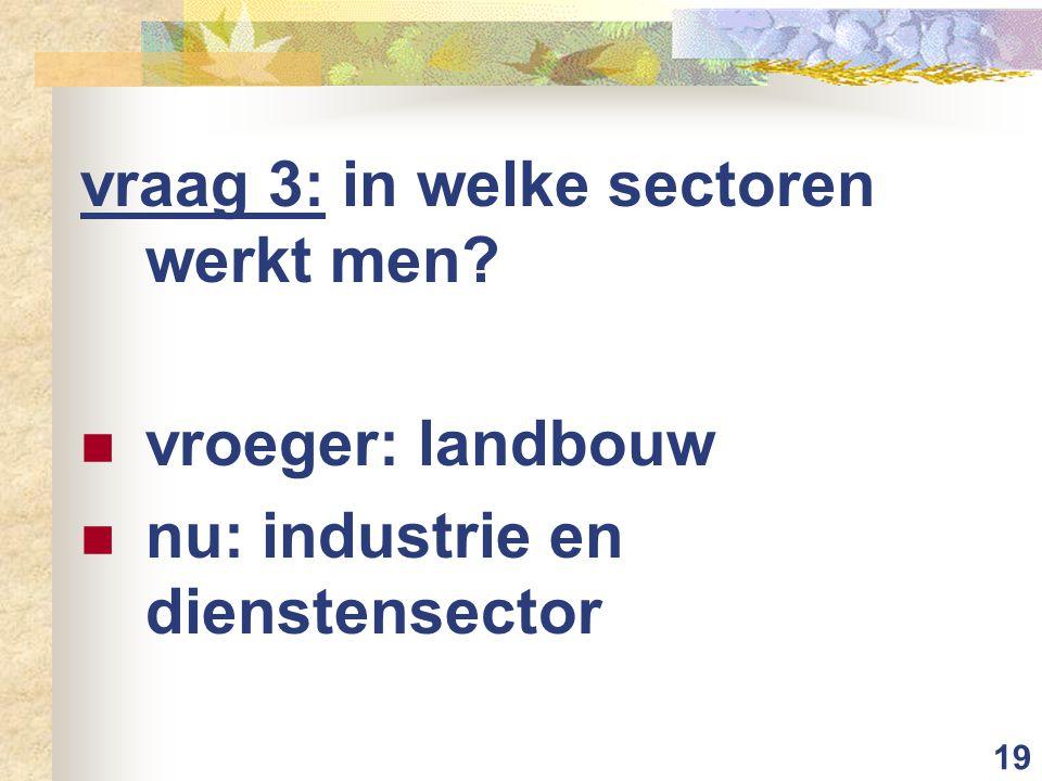 vraag 3: in welke sectoren werkt men