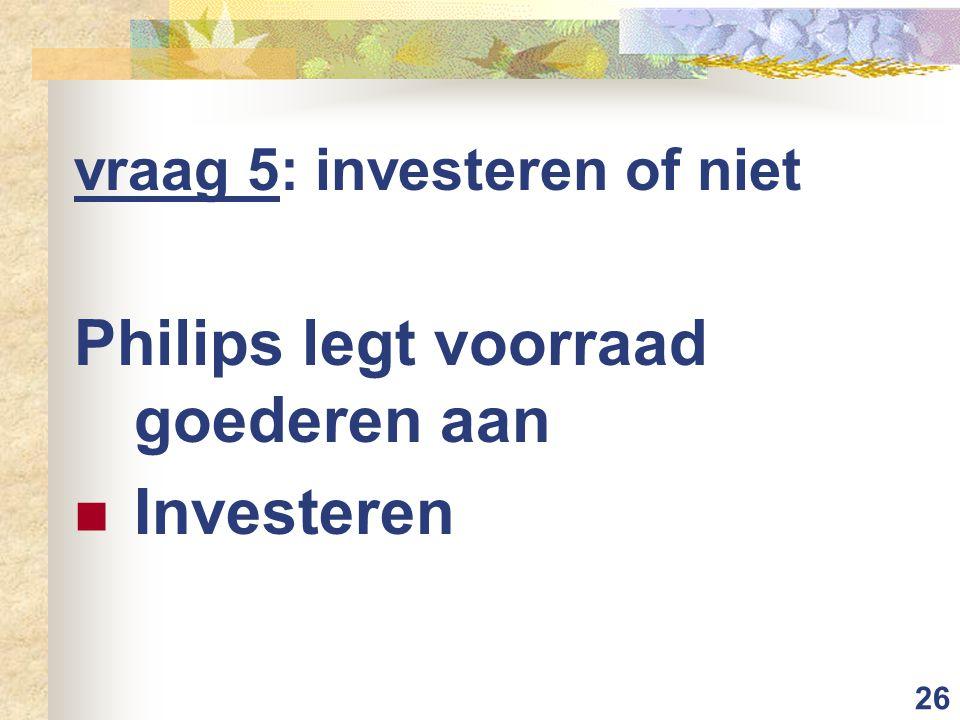 Philips legt voorraad goederen aan Investeren