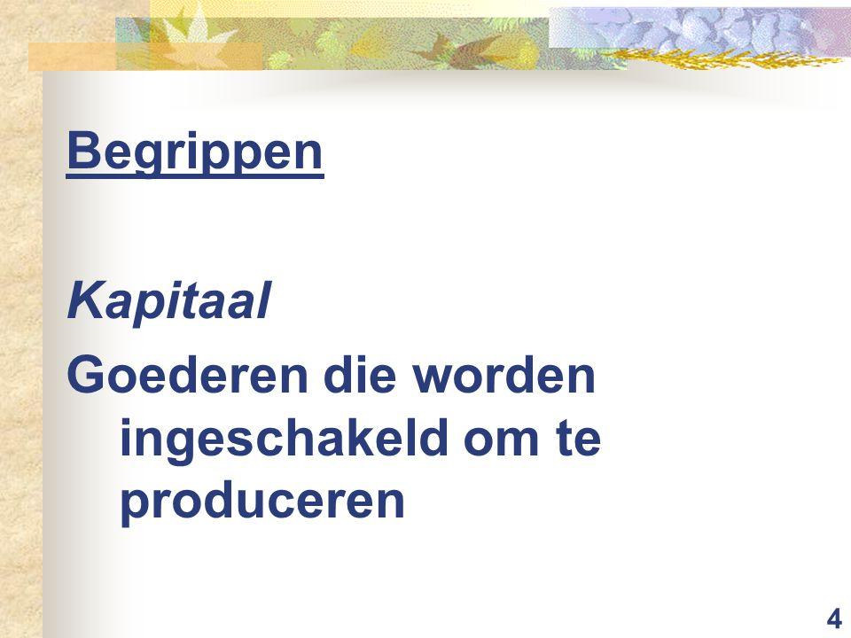 Begrippen Kapitaal Goederen die worden ingeschakeld om te produceren