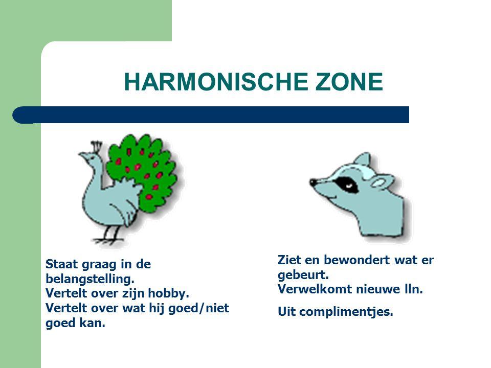 HARMONISCHE ZONE Ziet en bewondert wat er gebeurt. Verwelkomt nieuwe lln. Uit complimentjes.