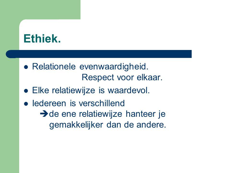 Ethiek. Relationele evenwaardigheid. Respect voor elkaar.