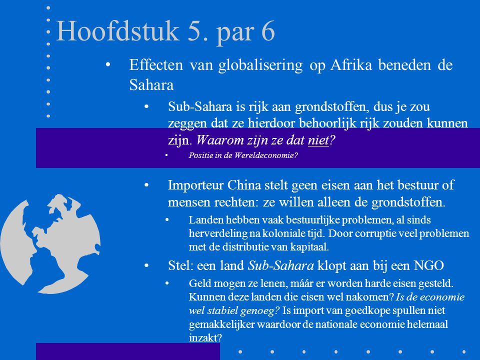 Hoofdstuk 5. par 6 Effecten van globalisering op Afrika beneden de Sahara.