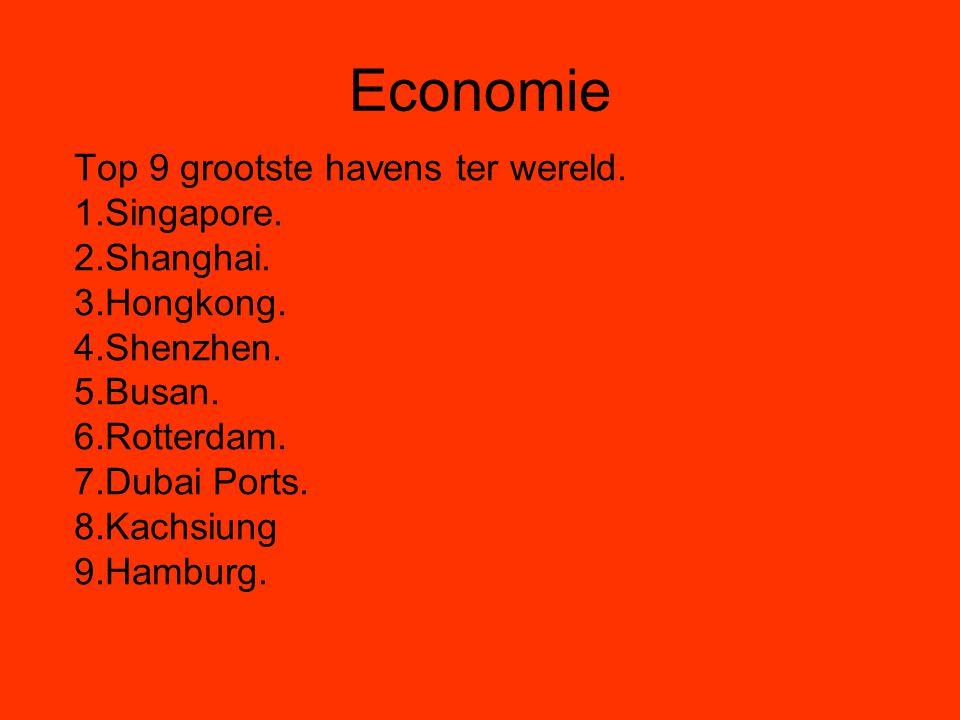 Economie Top 9 grootste havens ter wereld. 1.Singapore. 2.Shanghai.