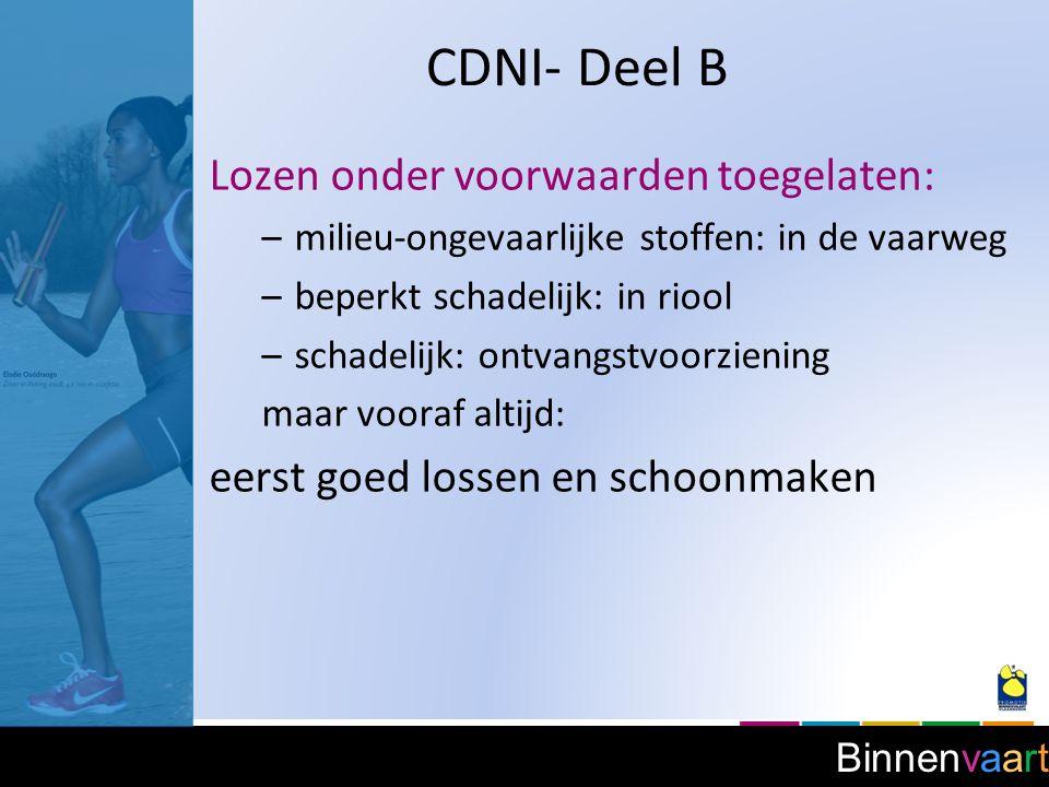 CDNI- Deel B Lozen onder voorwaarden toegelaten:
