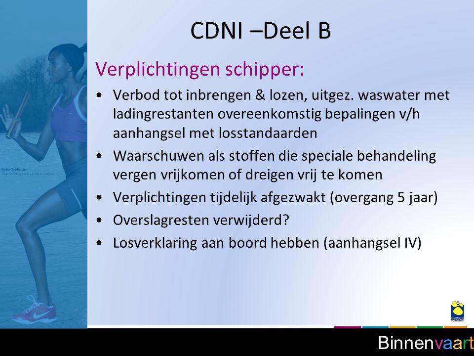 CDNI –Deel B Verplichtingen schipper:
