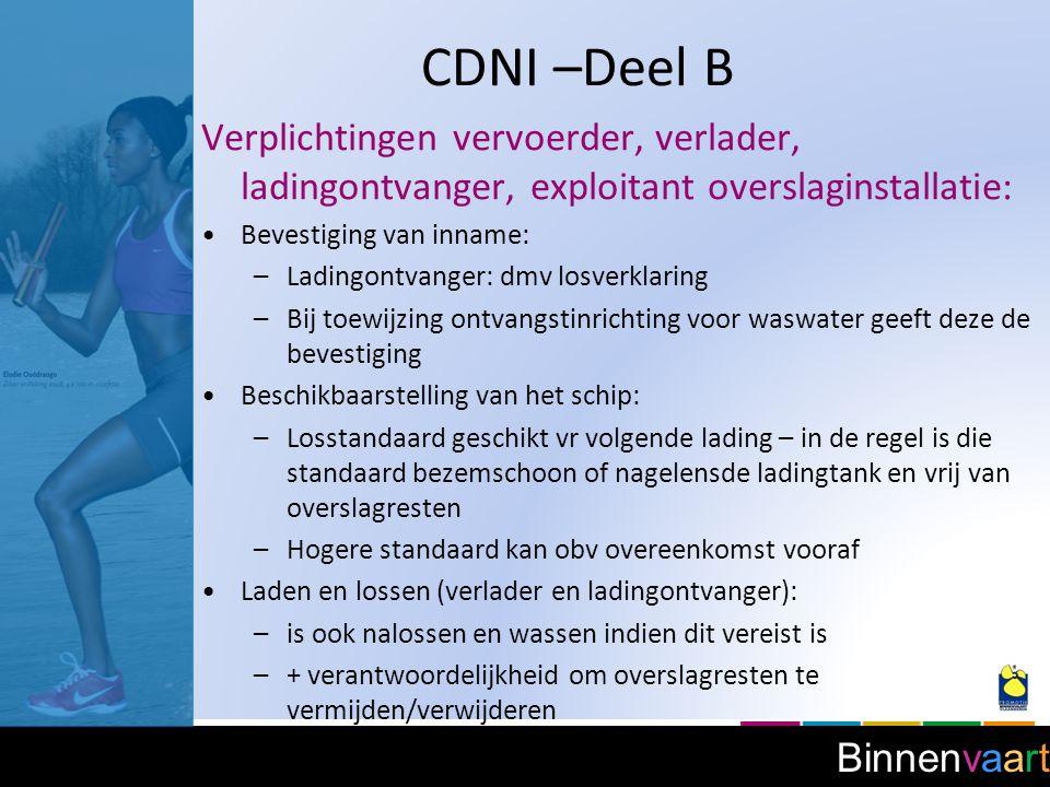 CDNI –Deel B Verplichtingen vervoerder, verlader, ladingontvanger, exploitant overslaginstallatie: Bevestiging van inname: