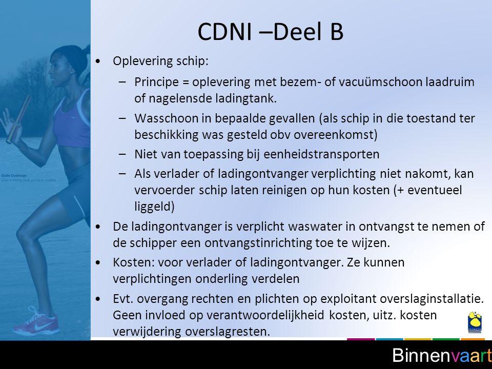 CDNI –Deel B Oplevering schip: