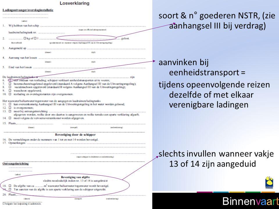 soort & n° goederen NSTR, (zie aanhangsel III bij verdrag)