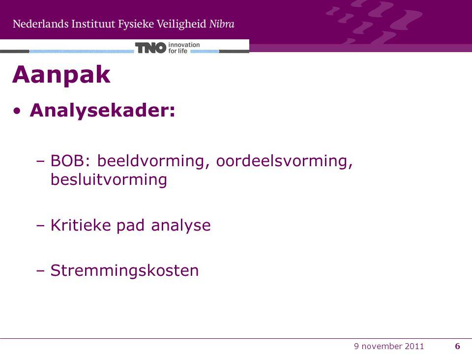 Aanpak Analysekader: BOB: beeldvorming, oordeelsvorming, besluitvorming. Kritieke pad analyse. Stremmingskosten.