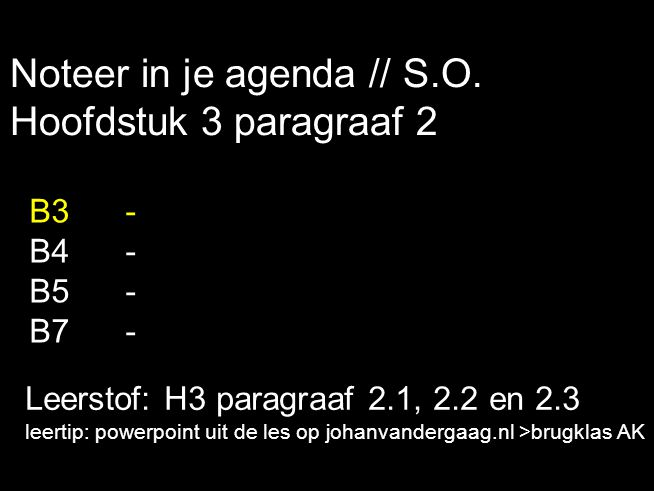 Noteer in je agenda // S.O. Hoofdstuk 3 paragraaf 2