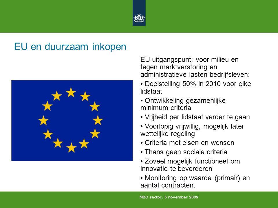 EU en duurzaam inkopen EU uitgangspunt: voor milieu en tegen marktverstoring en administratieve lasten bedrijfsleven: