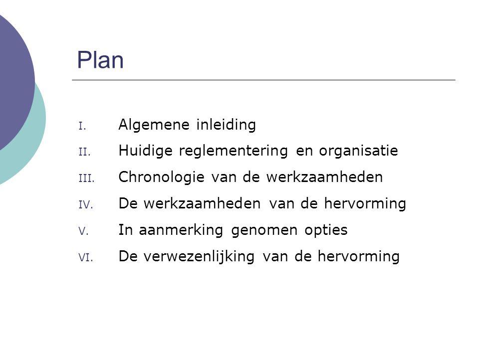 Plan Algemene inleiding Huidige reglementering en organisatie