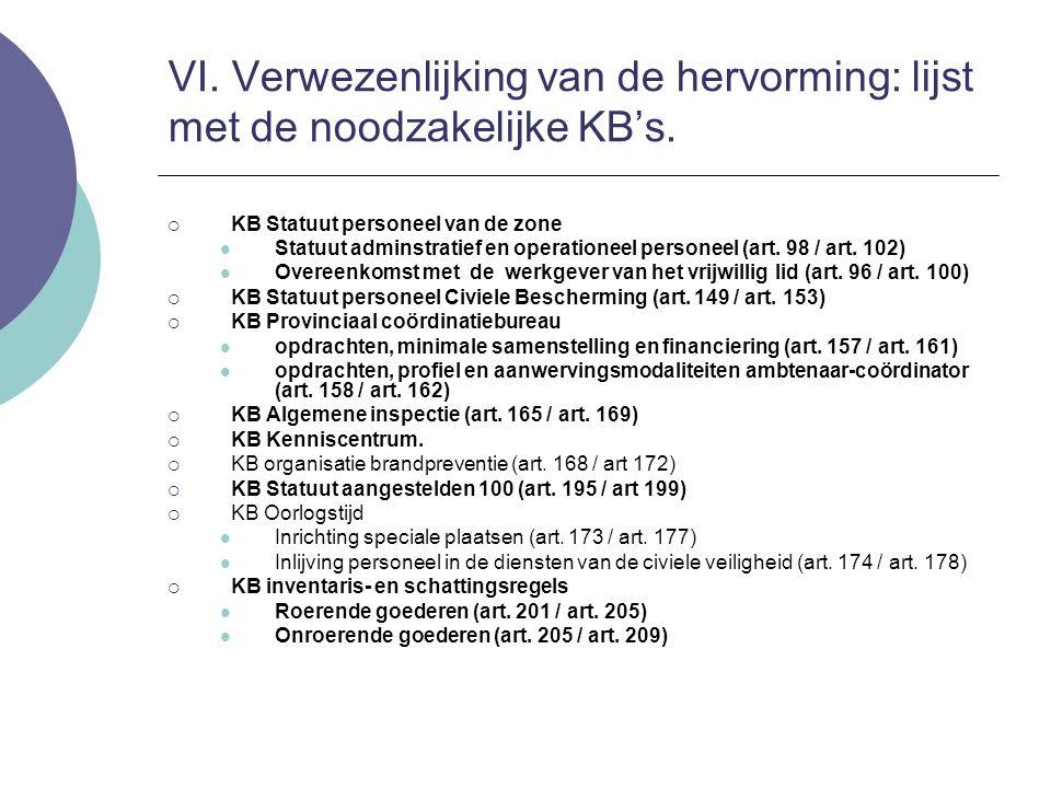 VI. Verwezenlijking van de hervorming: lijst met de noodzakelijke KB's.