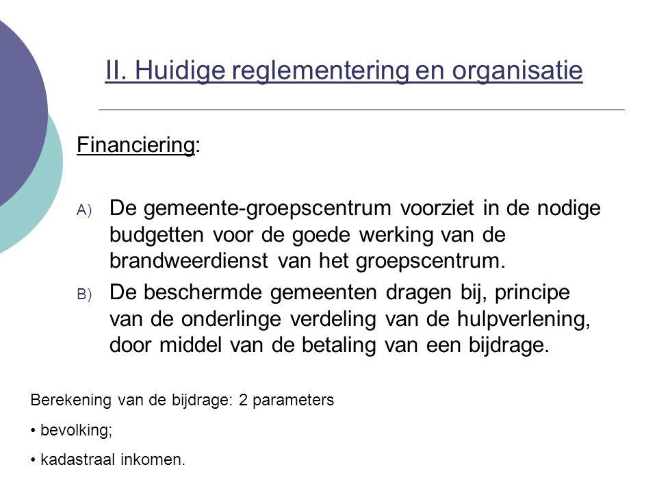 II. Huidige reglementering en organisatie