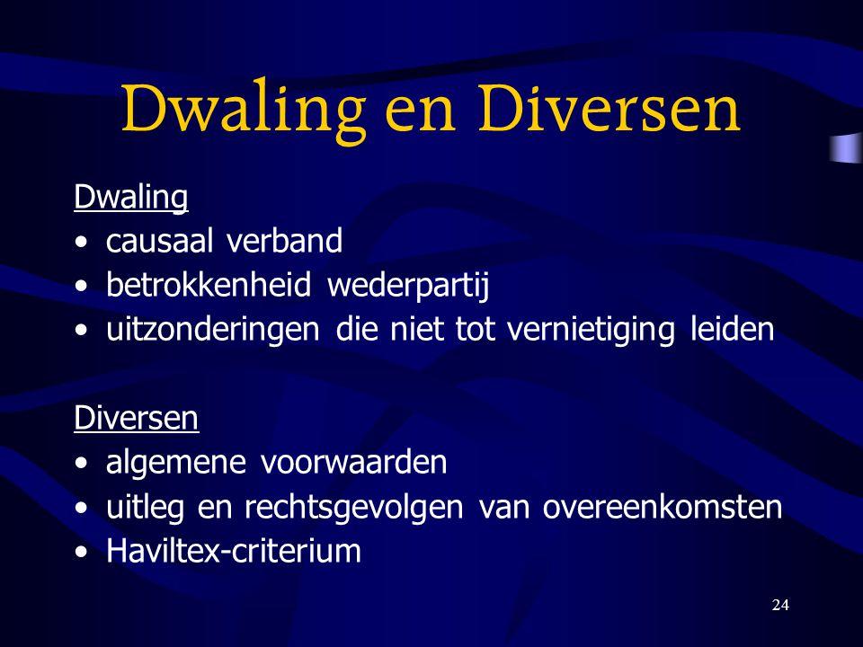 Dwaling en Diversen Dwaling causaal verband betrokkenheid wederpartij