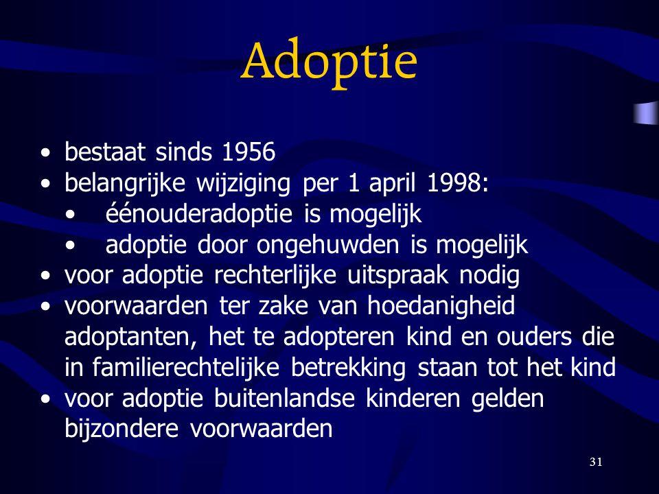 Adoptie bestaat sinds 1956 belangrijke wijziging per 1 april 1998: