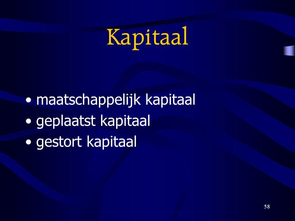 Kapitaal maatschappelijk kapitaal geplaatst kapitaal gestort kapitaal