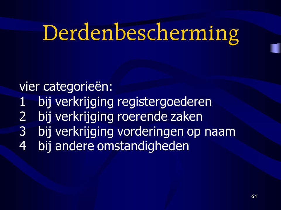 Derdenbescherming vier categorieën: 1 bij verkrijging registergoederen