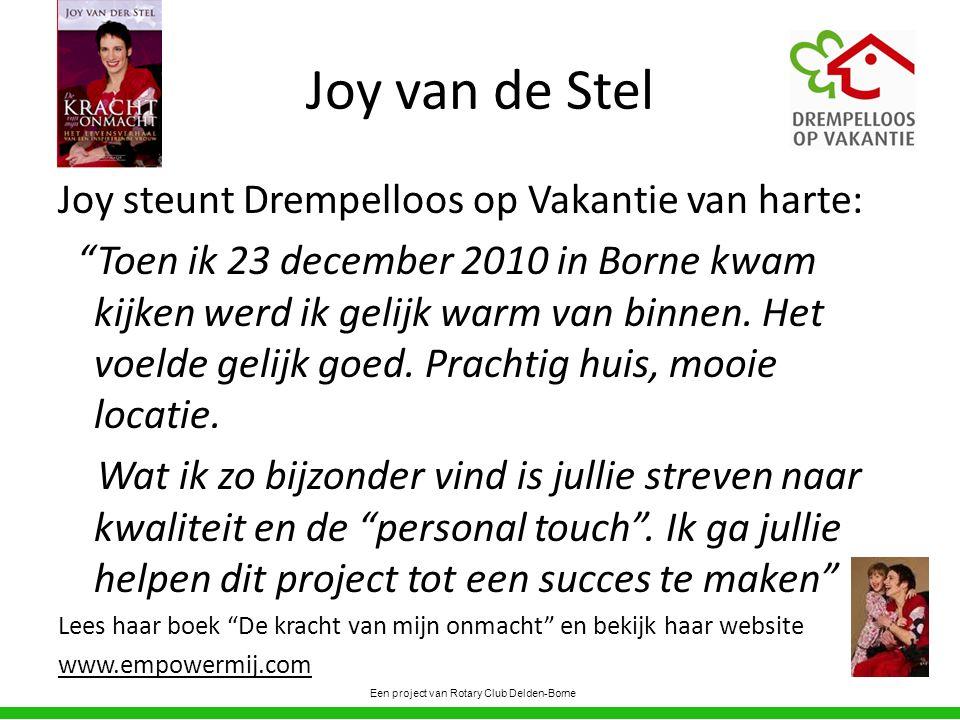 Joy van de Stel Joy steunt Drempelloos op Vakantie van harte: