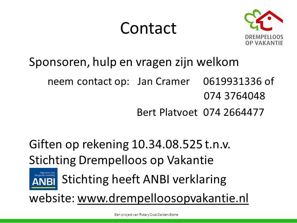 Contact Sponsoren, hulp en vragen zijn welkom