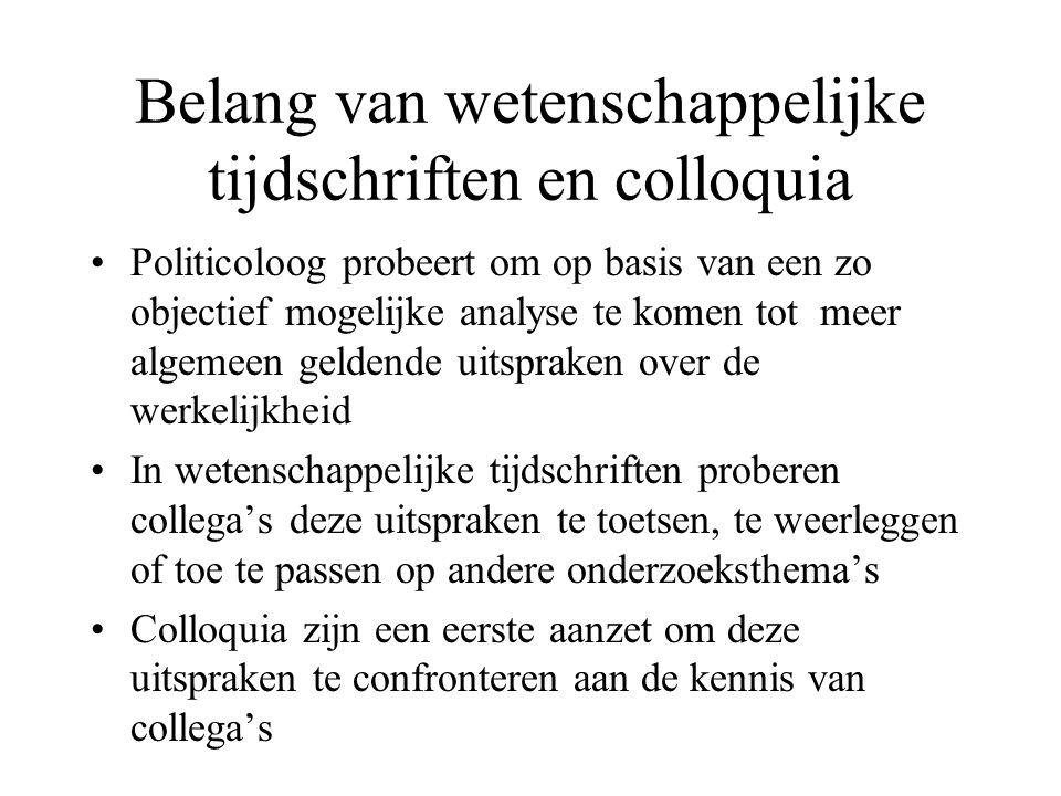 Belang van wetenschappelijke tijdschriften en colloquia