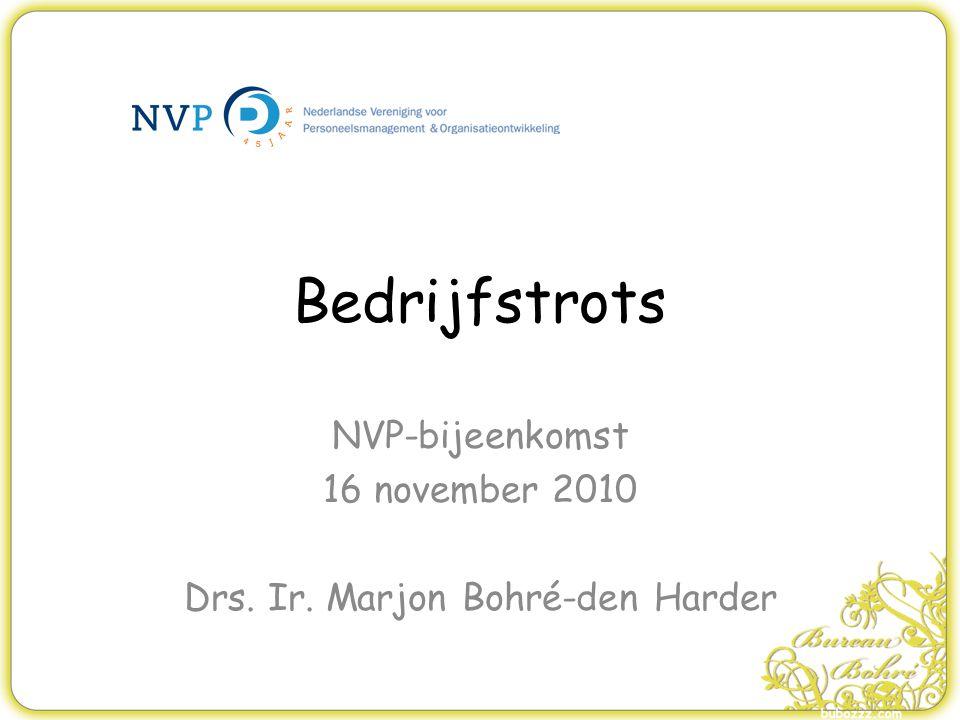 NVP-bijeenkomst 16 november 2010 Drs. Ir. Marjon Bohré-den Harder