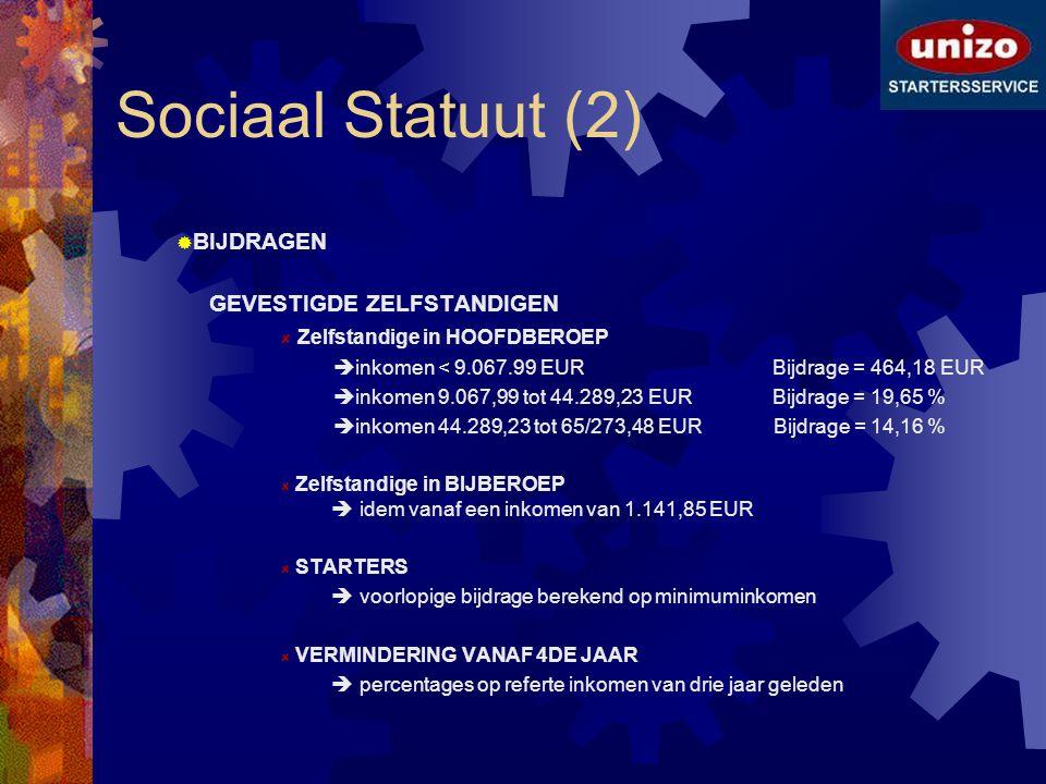 Sociaal Statuut (2) BIJDRAGEN GEVESTIGDE ZELFSTANDIGEN