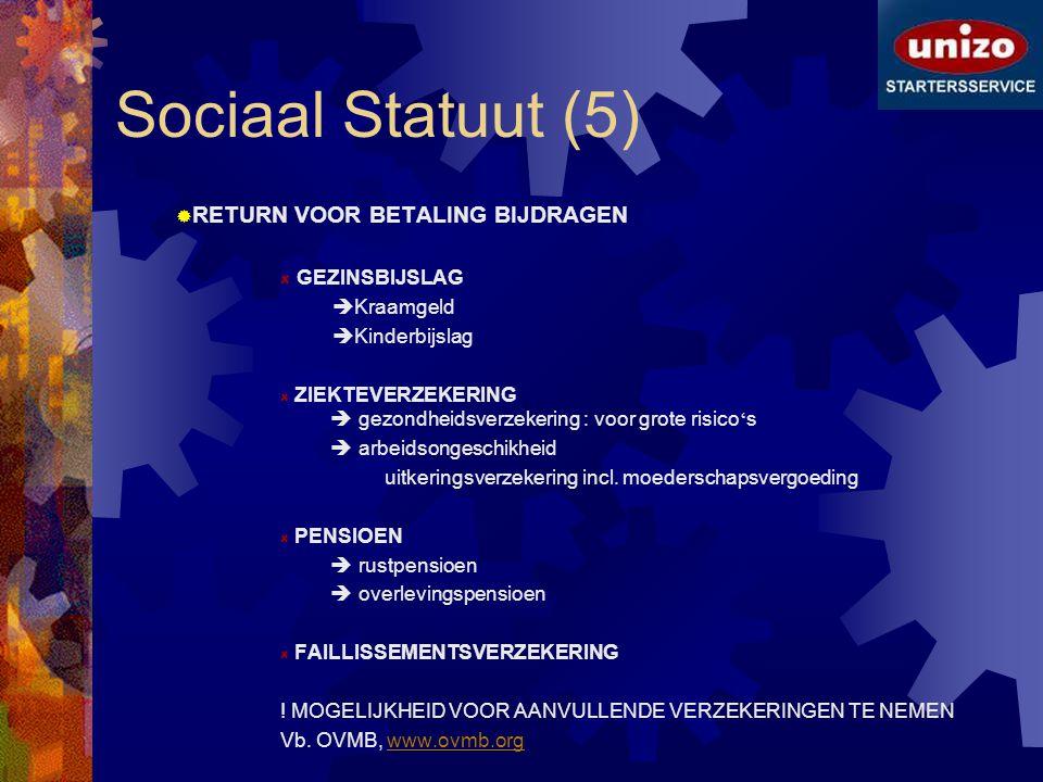 Sociaal Statuut (5) RETURN VOOR BETALING BIJDRAGEN GEZINSBIJSLAG