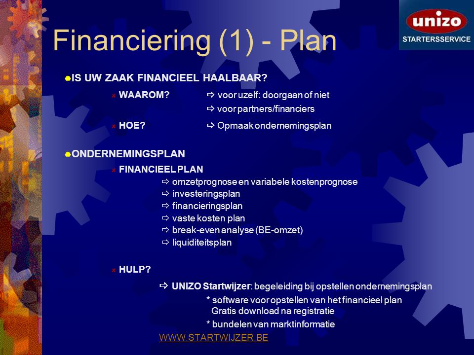 Financiering (1) - Plan IS UW ZAAK FINANCIEEL HAALBAAR