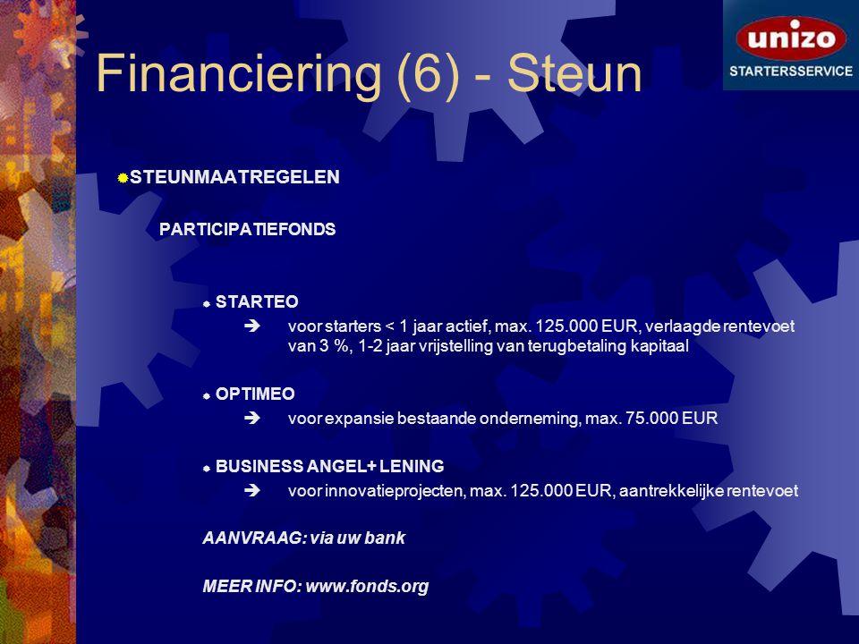 Financiering (6) - Steun