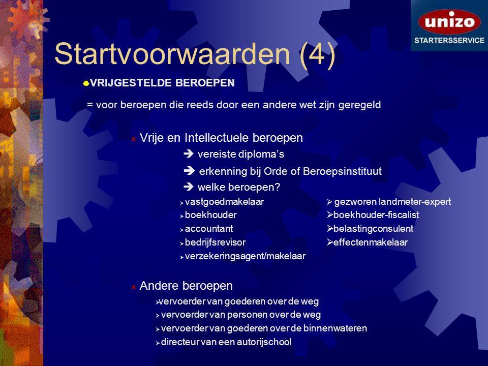 Startvoorwaarden (4) VRIJGESTELDE BEROEPEN. = voor beroepen die reeds door een andere wet zijn geregeld.