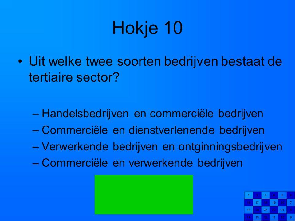 Hokje 10 Uit welke twee soorten bedrijven bestaat de tertiaire sector