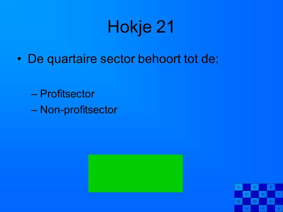 Hokje 21 De quartaire sector behoort tot de: Profitsector