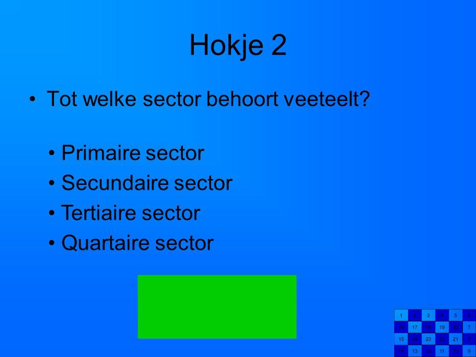 Hokje 2 Tot welke sector behoort veeteelt Primaire sector