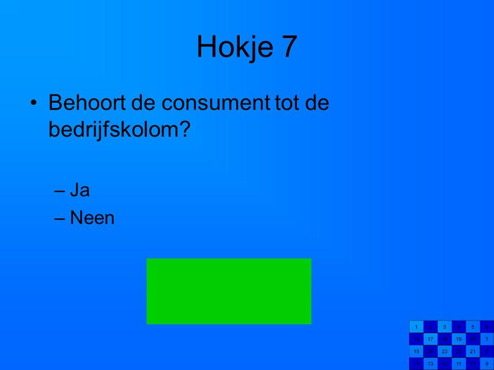 Hokje 7 Behoort de consument tot de bedrijfskolom Ja Neen