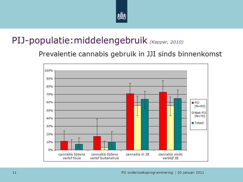 PIJ-populatie:middelengebruik (Kepper, 2010)