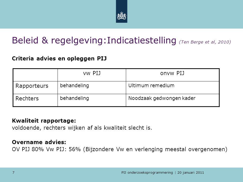 Beleid & regelgeving:Indicatiestelling (Ten Berge et al, 2010)