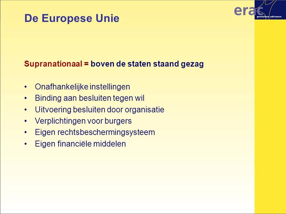 De Europese Unie Supranationaal = boven de staten staand gezag