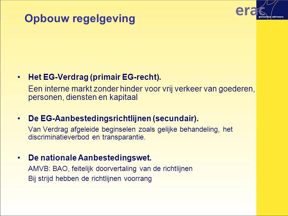 Opbouw regelgeving Het EG-Verdrag (primair EG-recht).