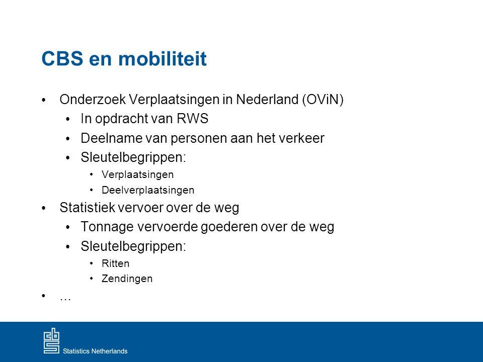 CBS en mobiliteit Onderzoek Verplaatsingen in Nederland (OViN)